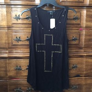 Black Knit Top with Gold Cross 🖤